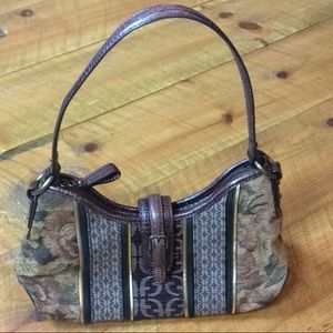 Fossil tapestry handbag with leather handle